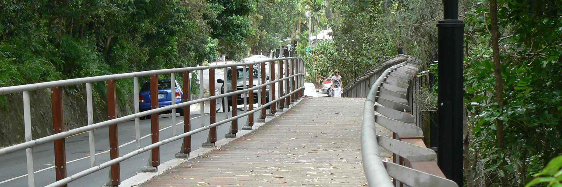 Stainless Steel & Timber Pedestrian Walkway - Noosa Boardwalk Stage 1, Park Rd, Noosa.