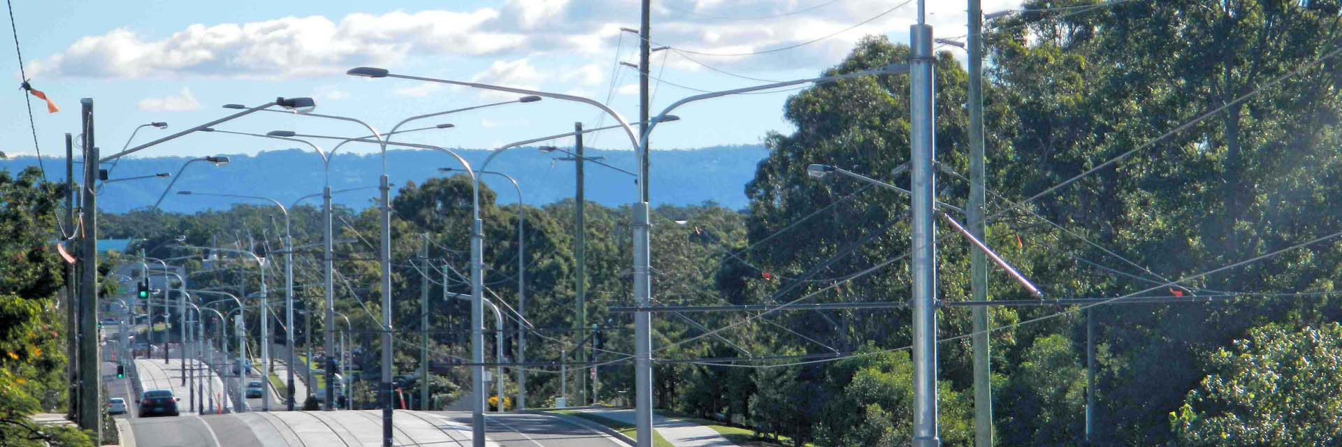 OHLE Steel Railway Masts, - Gold Coast Light Rail, Gold Coast.