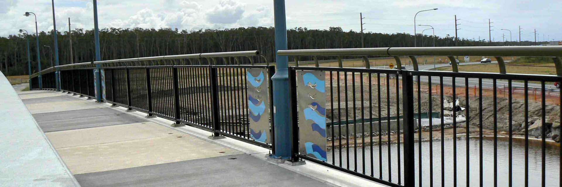 Steel pedestrian balustrade, Birtinya, Sunshine Coast.
